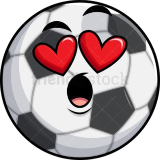 In love soccer ball emoticon. PNG - JPG and vector EPS file formats (infinitely scalable). Image isolated on transparent background.