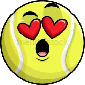 In love tennis ball emoticon. PNG - JPG and vector EPS file formats (infinitely scalable). Image isolated on transparent background.