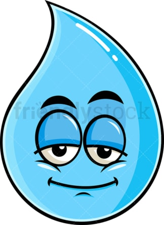Sleepy raindrop emoticon. PNG - JPG and vector EPS file formats (infinitely scalable). Image isolated on transparent background.