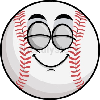 Delighted baseball emoticon. PNG - JPG and vector EPS file formats (infinitely scalable). Image isolated on transparent background.