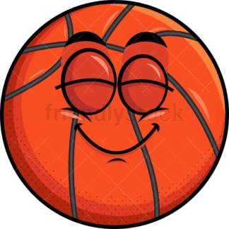 Delighted basketball emoticon. PNG - JPG and vector EPS file formats (infinitely scalable). Image isolated on transparent background.