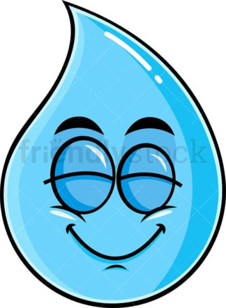 Delighted raindrop emoticon. PNG - JPG and vector EPS file formats (infinitely scalable). Image isolated on transparent background.