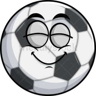 Delighted soccer ball emoticon. PNG - JPG and vector EPS file formats (infinitely scalable). Image isolated on transparent background.
