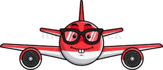 Nerdy airplane emoticon. PNG - JPG and vector EPS file formats (infinitely scalable). Image isolated on transparent background.