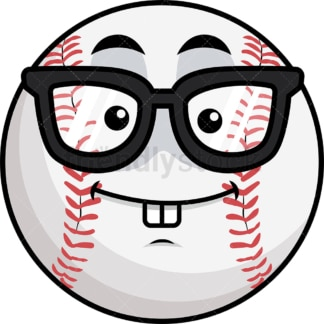 Nerdy baseball emoticon. PNG - JPG and vector EPS file formats (infinitely scalable). Image isolated on transparent background.
