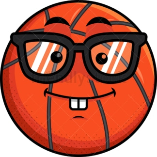 Nerdy basketball emoticon. PNG - JPG and vector EPS file formats (infinitely scalable). Image isolated on transparent background.