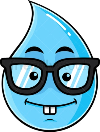 Nerdy raindrop emoticon. PNG - JPG and vector EPS file formats (infinitely scalable). Image isolated on transparent background.