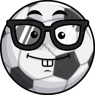 Nerdy soccer ball emoticon. PNG - JPG and vector EPS file formats (infinitely scalable). Image isolated on transparent background.