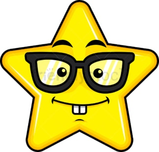 Nerdy star emoticon. PNG - JPG and vector EPS file formats (infinitely scalable). Image isolated on transparent background.