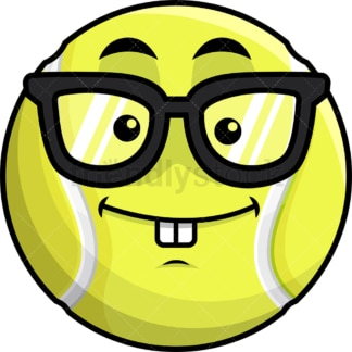 Nerdy tennis ball emoticon. PNG - JPG and vector EPS file formats (infinitely scalable). Image isolated on transparent background.
