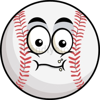 Chewing baseball emoticon. PNG - JPG and vector EPS file formats (infinitely scalable). Image isolated on transparent background.