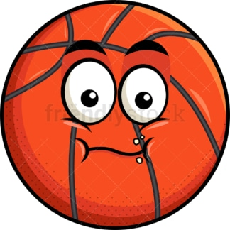 Chewing basketball emoticon. PNG - JPG and vector EPS file formats (infinitely scalable). Image isolated on transparent background.