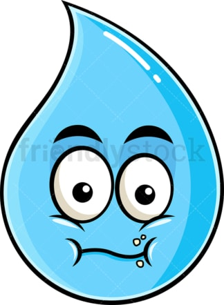 Chewing raindrop emoticon. PNG - JPG and vector EPS file formats (infinitely scalable). Image isolated on transparent background.