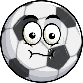 Chewing soccer ball emoticon. PNG - JPG and vector EPS file formats (infinitely scalable). Image isolated on transparent background.