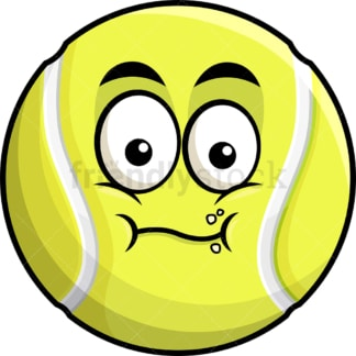 Chewing tennis ball emoticon. PNG - JPG and vector EPS file formats (infinitely scalable). Image isolated on transparent background.