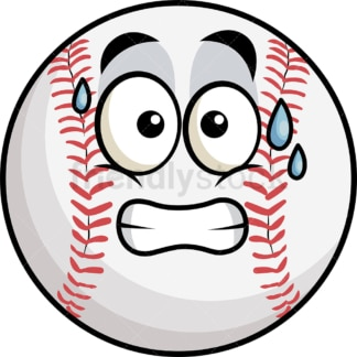 Sweating baseball emoticon. PNG - JPG and vector EPS file formats (infinitely scalable). Image isolated on transparent background.