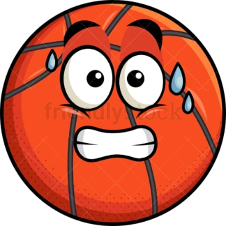 Sweating basketball emoticon. PNG - JPG and vector EPS file formats (infinitely scalable). Image isolated on transparent background.