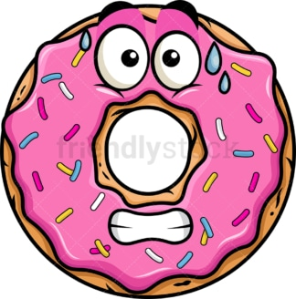 Sweating donut emoticon. PNG - JPG and vector EPS file formats (infinitely scalable). Image isolated on transparent background.