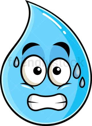Sweating raindrop emoticon. PNG - JPG and vector EPS file formats (infinitely scalable). Image isolated on transparent background.