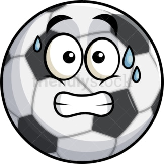 Sweating soccer ball emoticon. PNG - JPG and vector EPS file formats (infinitely scalable). Image isolated on transparent background.