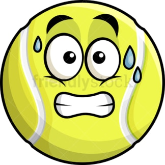 Sweating tennis ball emoticon. PNG - JPG and vector EPS file formats (infinitely scalable). Image isolated on transparent background.