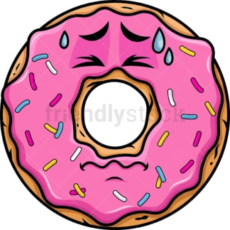 In Pain Donut Emoticon. PNG - JPG and vector EPS file formats (infinitely scalable). Image isolated on transparent background.