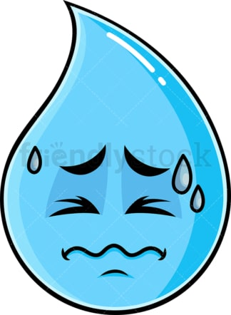 In Pain Raindrop Emoticon. PNG - JPG and vector EPS file formats (infinitely scalable). Image isolated on transparent background.