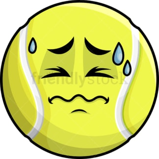 In Pain Tennis Ball Emoticon. PNG - JPG and vector EPS file formats (infinitely scalable). Image isolated on transparent background.