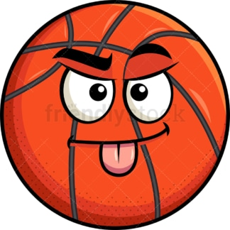 Sarcastic basketball emoticon. PNG - JPG and vector EPS file formats (infinitely scalable). Image isolated on transparent background.
