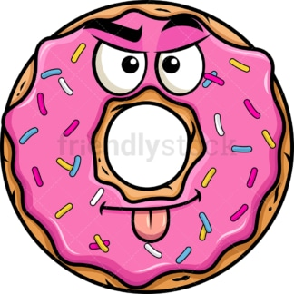 Sarcastic donut emoticon. PNG - JPG and vector EPS file formats (infinitely scalable). Image isolated on transparent background.