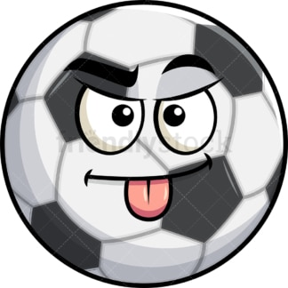 Sarcastic soccer ball emoticon. PNG - JPG and vector EPS file formats (infinitely scalable). Image isolated on transparent background.