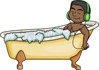 Black man relaxing while bathing. PNG - JPG and vector EPS (infinitely scalable).