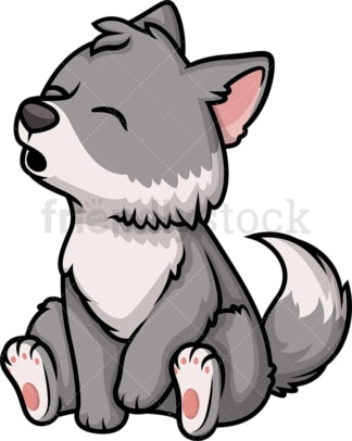 Chibi kawaii wolf. PNG - JPG and vector EPS (infinitely scalable).