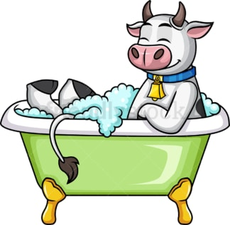 Cow having a bath. PNG - JPG and vector EPS (infinitely scalable).