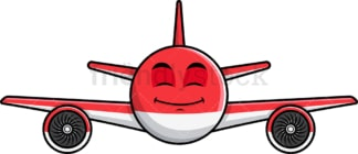 Happy looking airplane emoticon. PNG - JPG and vector EPS file formats (infinitely scalable). Image isolated on transparent background.