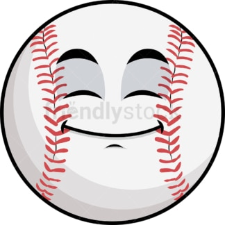Happy looking baseball emoticon. PNG - JPG and vector EPS file formats (infinitely scalable). Image isolated on transparent background.
