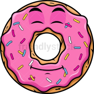 Happy looking donut emoticon. PNG - JPG and vector EPS file formats (infinitely scalable). Image isolated on transparent background.