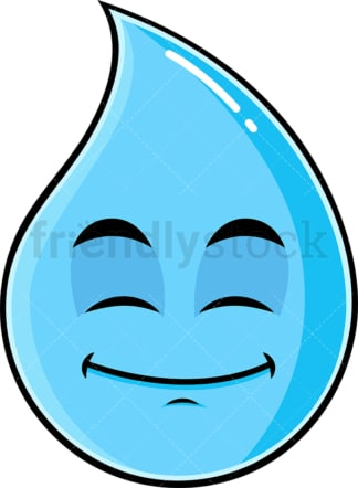 Happy looking raindrop emoticon. PNG - JPG and vector EPS file formats (infinitely scalable). Image isolated on transparent background.