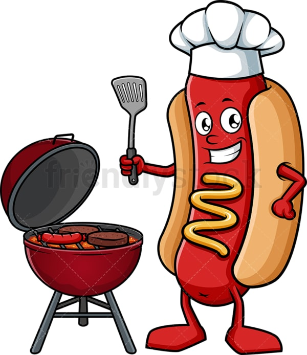 Hot dog grilling. PNG - JPG and vector EPS (infinitely scalable).