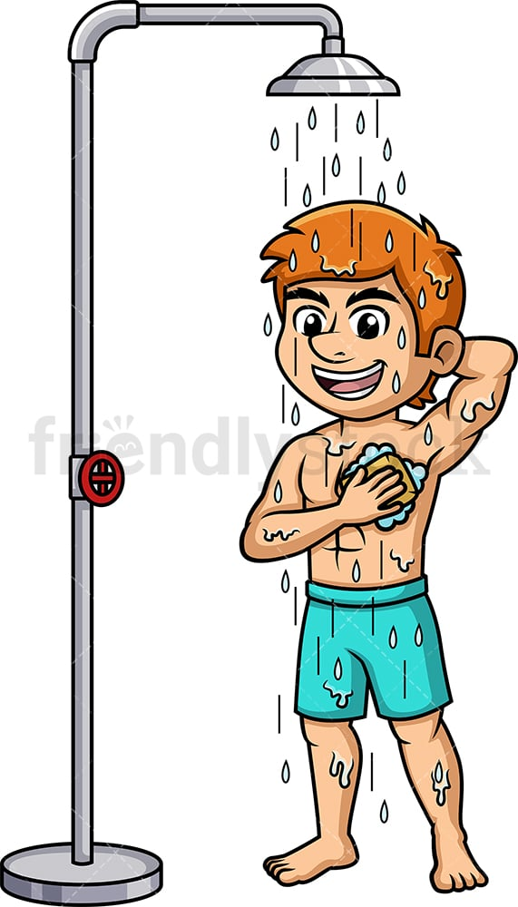 Man cleaning himself up under the shower. PNG - JPG and vector EPS (infinitely scalable).