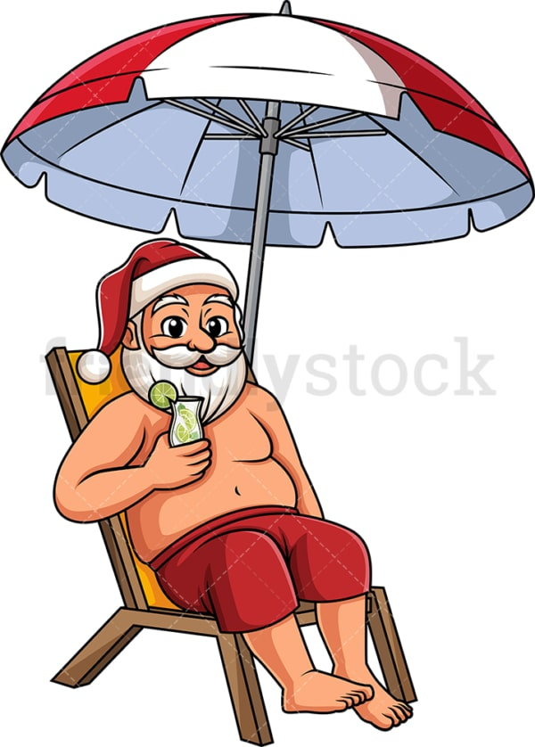 Relaxing summer santa. PNG - JPG and vector EPS (infinitely scalable).