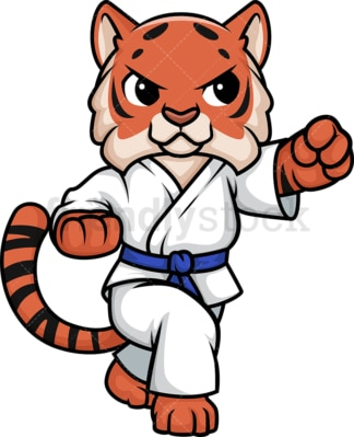 Tiger doing karate. PNG - JPG and vector EPS (infinitely scalable).