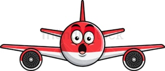 Surprised airplane emoticon. PNG - JPG and vector EPS file formats (infinitely scalable). Image isolated on transparent background.