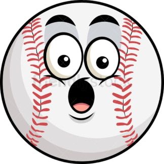 Surprised baseball emoticon. PNG - JPG and vector EPS file formats (infinitely scalable). Image isolated on transparent background.