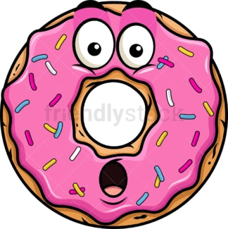 Surprised donut emoticon. PNG - JPG and vector EPS file formats (infinitely scalable). Image isolated on transparent background.