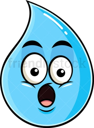 Surprised raindrop emoticon. PNG - JPG and vector EPS file formats (infinitely scalable). Image isolated on transparent background.