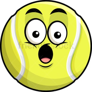 Surprised tennis ball emoticon. PNG - JPG and vector EPS file formats (infinitely scalable). Image isolated on transparent background.