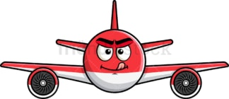 Evil look airplane emoticon. PNG - JPG and vector EPS file formats (infinitely scalable). Image isolated on transparent background.