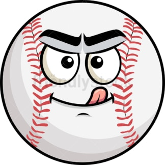 Evil look baseball emoticon. PNG - JPG and vector EPS file formats (infinitely scalable). Image isolated on transparent background.
