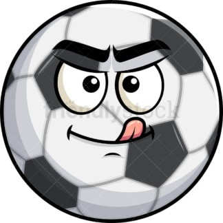 Evil look soccer ball emoticon. PNG - JPG and vector EPS file formats (infinitely scalable). Image isolated on transparent background.
